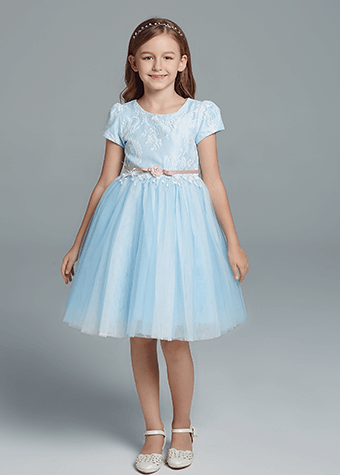 Kid dream flower girl dress girl tulle princess dress blue princess dress