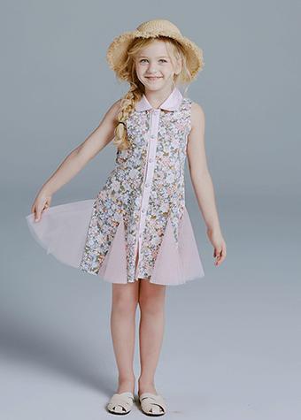 children modeling casual sleeveless dresses flower kids costumes