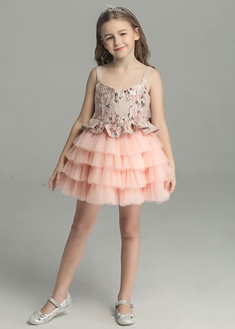 Children party dress short front long back pink prom satin slip dress