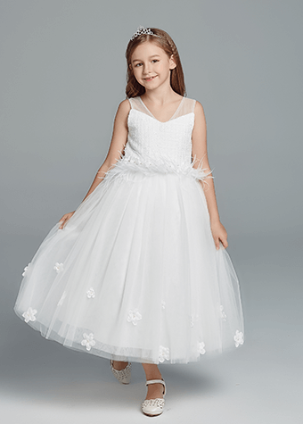 New Fashion White A-Line Illusion Bateau Long Ball Gown Communion Full Dress