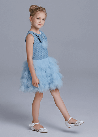 Girls party dress blue puffy girls party dress for 2-12 years old