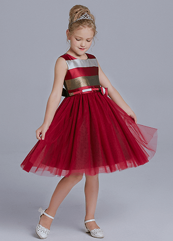 Products supply girl & children red satin summer dress