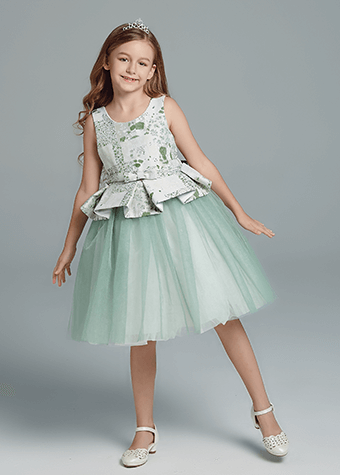 Fresh Style Kids Clothes Mint Green Flower Girl Dress Children's Party Dresses Sale
