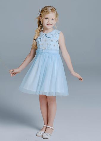 New Design Pattern Children Clothing Print Cotton Tulle Flower Girl Dress