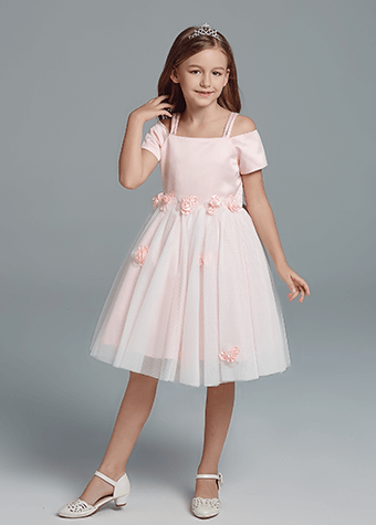 Sweet Princess Pink Layered Dresses Pink Flowers Appliques Dress