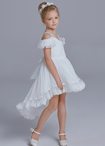 Children Age Group and Medium Style of Length Children Frock White Flower girl dresses