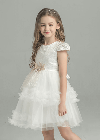Manufacturer Hot Sell Ready Stock Short Sleeve Kids Princess Flower Girl Dresses