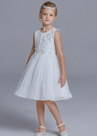 Tulle Heavy Beaded Evening Dress Children Dress