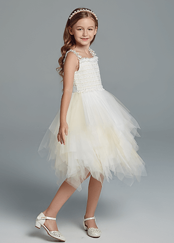 Children's evening long dress wedding bridal gown
