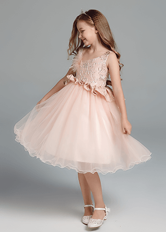 Factory supply princess dress children soft pink princess dress