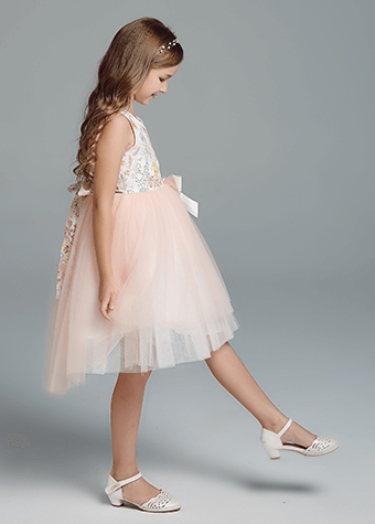 Children Kids Wedding Party Bowknot Pageant Party Gown Flower Girl Dress