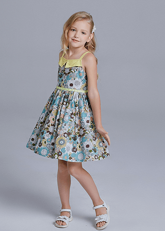 New Summer Casual Clothes Floral Print Cotton Spaghetti Strap Kids Dresses