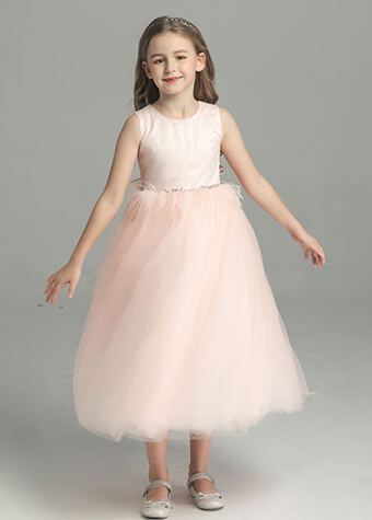 latest long party dress satin flower girl dress patterns for girls