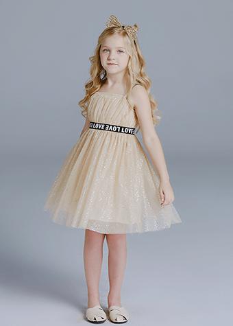 Child Clothes Letters Belt Skirt With Shoulder-Straps Little Girl Dresses