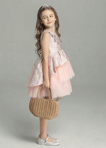 Fashion Holiday Dress Layers Front Short Back Long Flower Girl Dresses