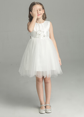 Flower Girl Dress White Color Princess Dress Wedding Gown For Girl