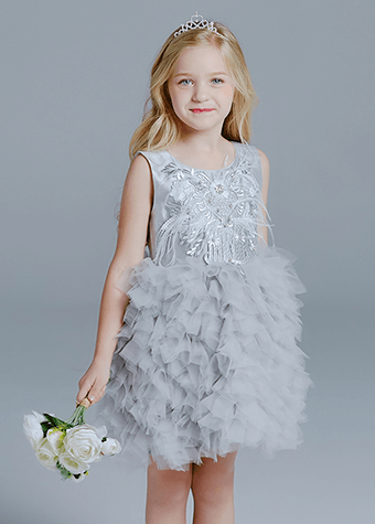 Elegant Grey Vintage Gray Flower Girl Dresses