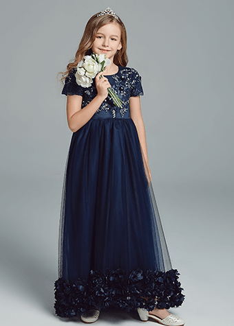 Royal blue flower girl dresses children latest fashion dress designs princess gowns for teens