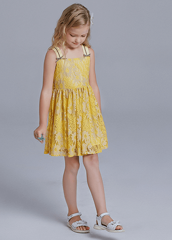 Soft Lace Design Children Daily Wear Baby Girl Clothes Casual Dresses