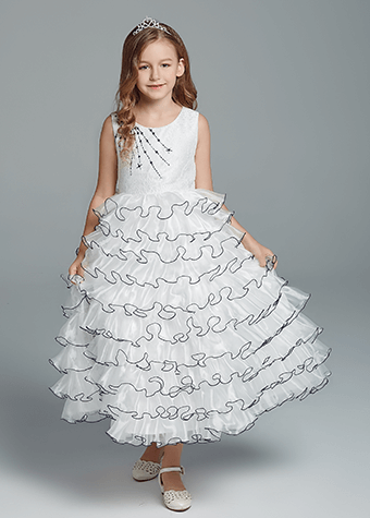 Fashion Wedding Party Long Frock Designs Layered Tulle Flower Girl Dress