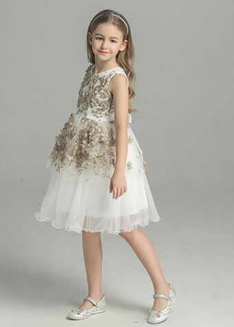 Young Little Girls Gold Flowers Appliqued Formal Flower Girl Tulle Dress