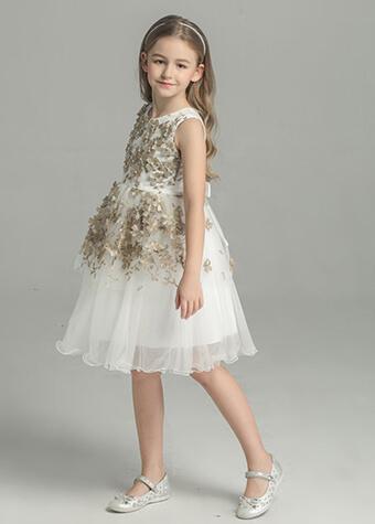 Young Little Girls Gold Flowers Appliqued Formal Flower Girl Tulle Dress