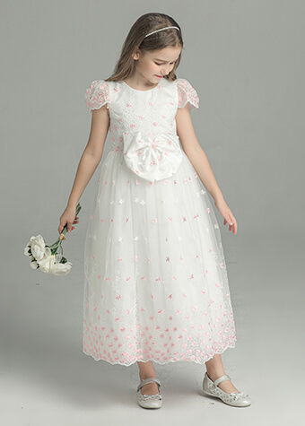 Flower Girls Princess Wedding Dress Bow Tie Christmas Party Dresses