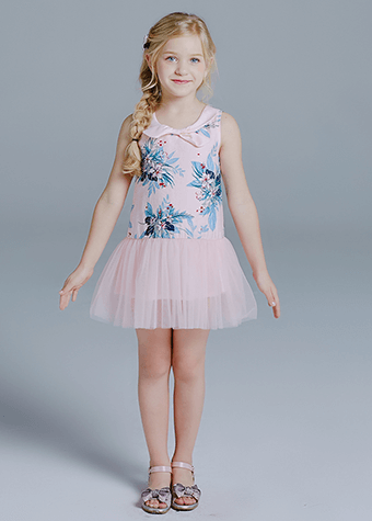 Garment factory custom kids girls printed new arrival princess kids garment child dress