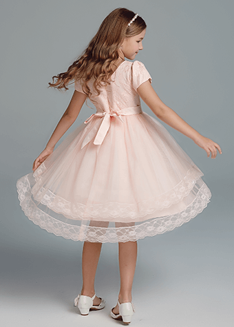 New Design Regular Satin Girls Party Dresses Pink Princess Costumes For Kids