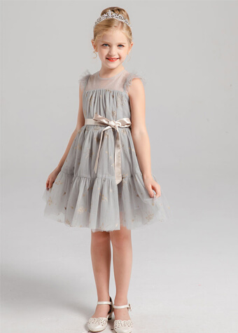 Baby Dress Elegant Tulle Dress With Bow Belt A-Line Flower Girls Dresses
