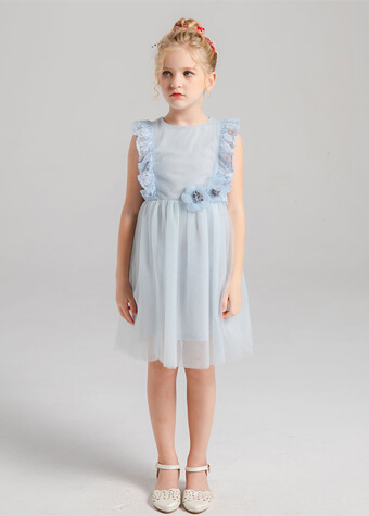 Pretty tulle flower girl dress pale blue kids pageant baby girl princess dress