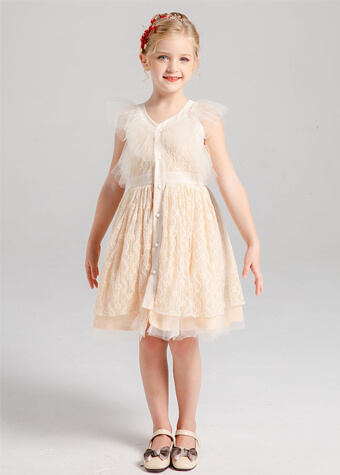 Wholesale Children Clothing Daily Wear Casual Style Lace Girl's Dresses
