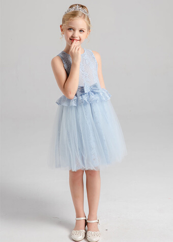 Homecoming Elegant Lace Bodice With Bow A-Line Tulle Flower Girls Dress