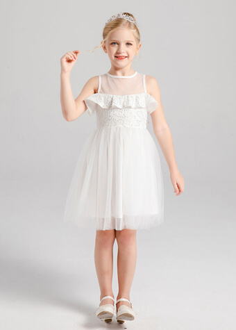 flower girls sleeveless holiday formal white party dresses