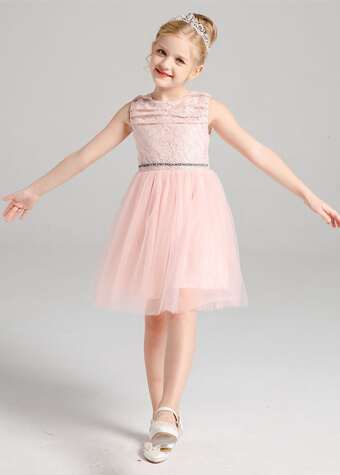 Children Clothing Party Dress Tea Length Tulle Skirt Lace Flower Girl Dress