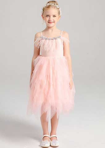 Little girl summer casual pink dress with cake styles