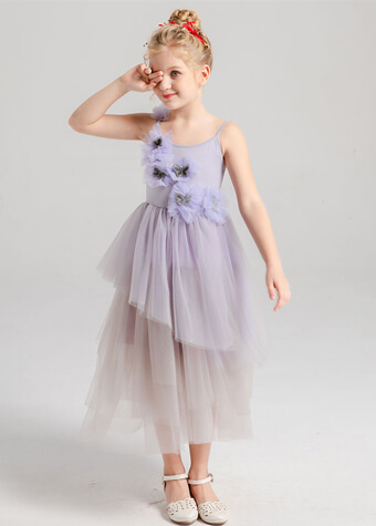 Infants & Toddlers Age Group and Breathable Feature Prom Modern Frock Lilac Baby Dress