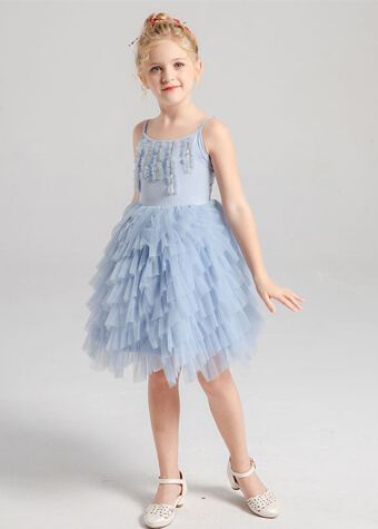 wholesale kids clothing baby clothes embroidered tulle fabric dress