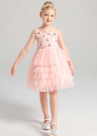 New Summer Butterfly Appliqued Spaghetti Strap Pink Mesh Boutique Dresses