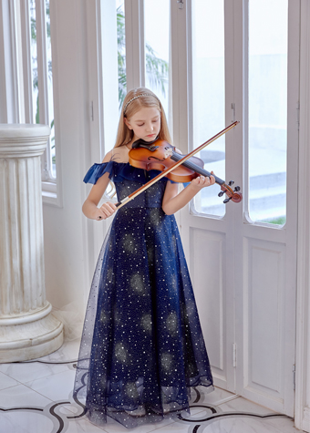 2021 Latest Customized kids wear violin performance shiny stars clothes dress for girls